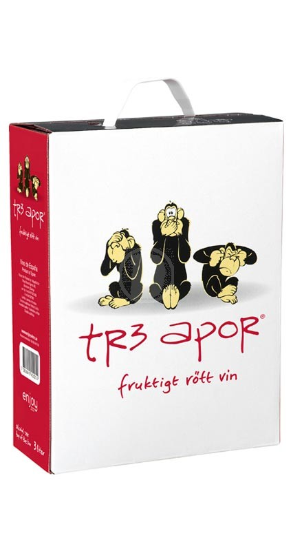 Tre apor Rött 3 liter