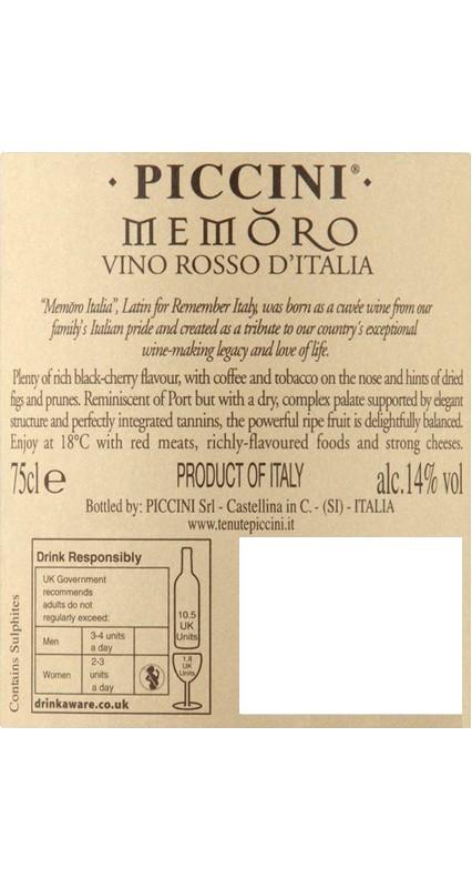 Piccini Memoro etikett
